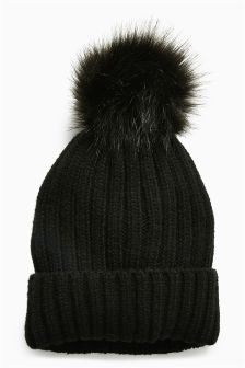Faux Fur Pom Beanie (Older Girls)