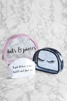 Set Of 3 Slogan Cosmetic Bags