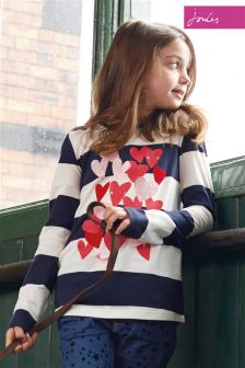 Joules Navy Stripe Appliqué Top