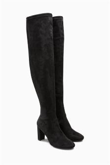 Block Heel Over The Knee Boots