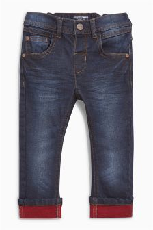 Contrast Colour Turn-Up Jeans (3mths-6yrs)