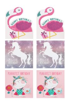 Set Of 6 Assorted Girl's Birthday Cards