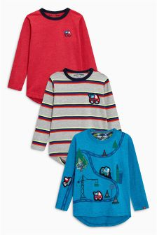 Long Sleeve Digger T-Shirts Three Pack (3mths-6yrs)