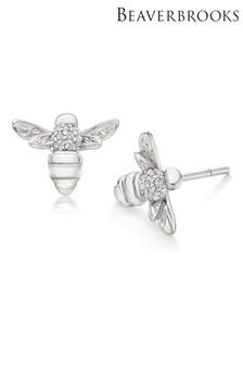 Beaverbrooks Summer Paradise Silver Cubic Zirconia Bumble Bee Stud Earrings