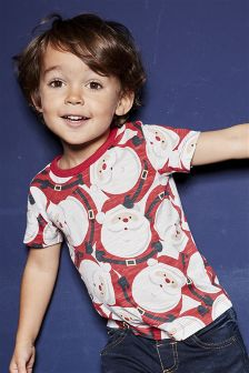 Christmas Santa Print Short Sleeve T-Shirt (3mths-5yrs)