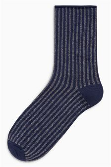 Metallic Stripe Ankle Socks One Pack