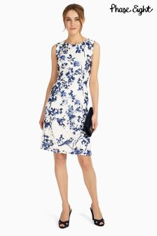 Phase Eight White/Blue Lola Lace Printed Dress