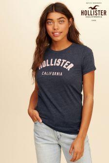 Hollister Navy Logo Tee