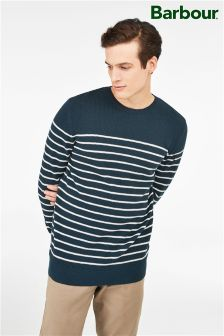 Barbour® Navy Current Stripe Crew Neck Jumper