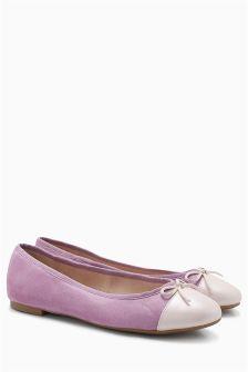 Leather Toe Cap Ballerinas