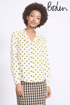 Boden Ivory Mini Shadow Spot Olive Blouse