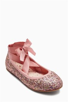 Glitter Ankle Tie Ballerina Shoes (Older Girls)