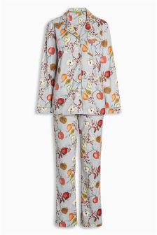 Printed Button Through Cosy Pyjamas
