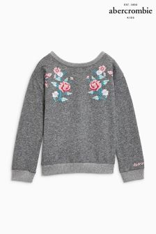 Abercrombie & Fitch Dark Grey Embroidered Crew