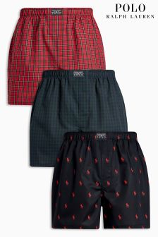 Polo Ralph Lauren Black/Red 40s' Woven Boxer Three Pack