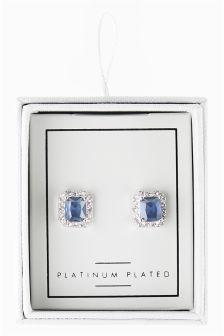 Plated Blue Stone Earrings