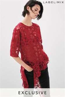 Mix/Whole 9 Yards Raw Edge Lace Frill Top