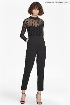 French Connection Black Lea Mesh Jersey Long Sleeve High Neck Jumpsuit