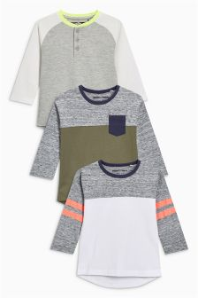 Long Sleeve Raglan T-Shirts Three Pack (3mths-6yrs)