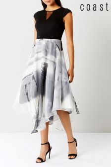 Coast Black Grovetta Organza Midi Dress