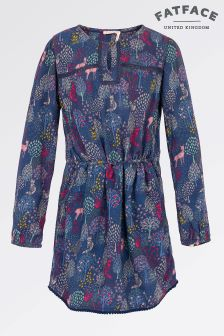 Fat Face Light Navy Woodland Print Dress