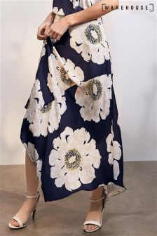Warehouse Navy Melody Floral Skirt