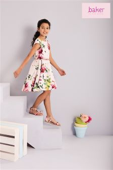 Baker By Ted Baker Younger Girl All Over Pink Floral Printed Prom Dress