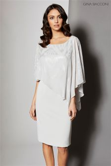 Gina Bacconi Silver Twinkle Chiffon Cape And Crepe Dress