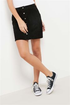 Suede Button Through Skirt