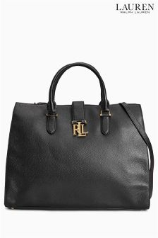 Lauren Ralph Lauren Brigitte Black Two Tone Pebbled Leather Tote