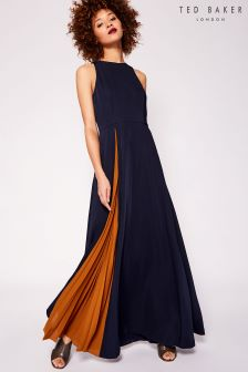 Ted Baker Navy Madizon Pleated Maxi Dress