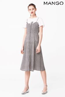 Mango White/Black Gingham Print Dress
