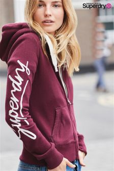 Superdry Egerie Burgundy Appliqué Zip Hoody