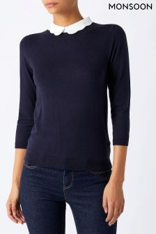 Monsoon Blue Sicily Scallop Collar Jumper