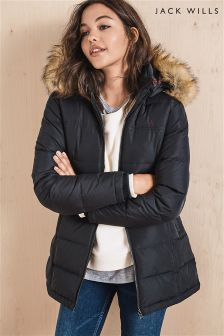 Jack Wills Black Ann Hooded Padded Coat