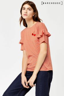 Warehouse Red/White Frill Sleeve Cherry Stripe Tee