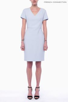 French Connection Light Blue Short Sleeve V-Neck Dress
