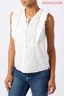 Monsoon White Lillian Frill Front Top