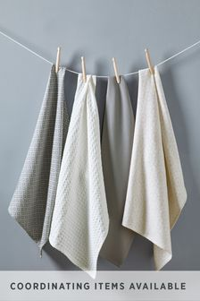 Set Of 4 Grey Geo Tea Towels