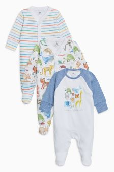 Jungle Print Sleepsuit Three Pack (0mths-2yrs)