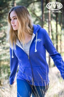 Animal Trails Clemantis Blue Marl Full Zip Hoody