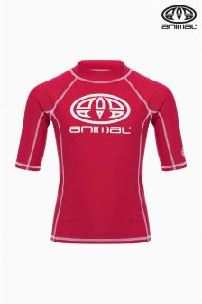 Animal Hiltern Red Short Sleeve Rash Vest