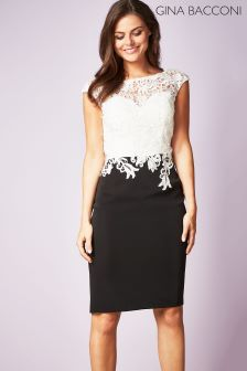 Gina Bacconi Black Ella Contrast Lace Dress