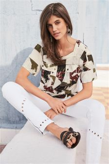 Embroidered Cut Out Skinny Jeans
