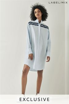 Mix/Teatum Jones Blue Placed Stripe Shirt Dress