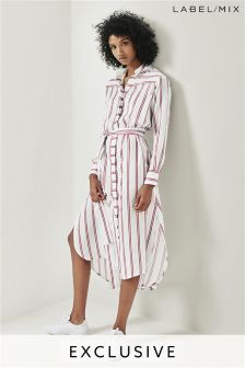 Mix/Teatum Jones Stripe Tie Waist Shirt Dress
