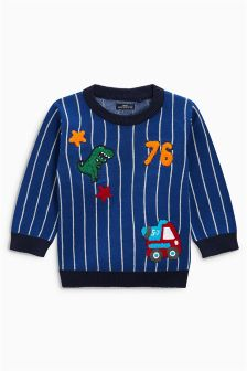 Stripe Badge Sweater (3mths-6yrs)
