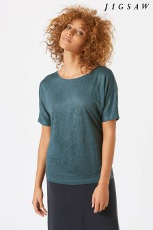 Jigsaw Green Linen Silk Trim Top