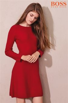 Boss Orange Knit Long Sleeve Red Dress