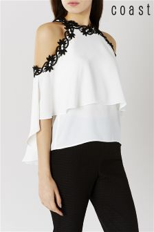 Coast Ivory Alice Cold Shoulder Top